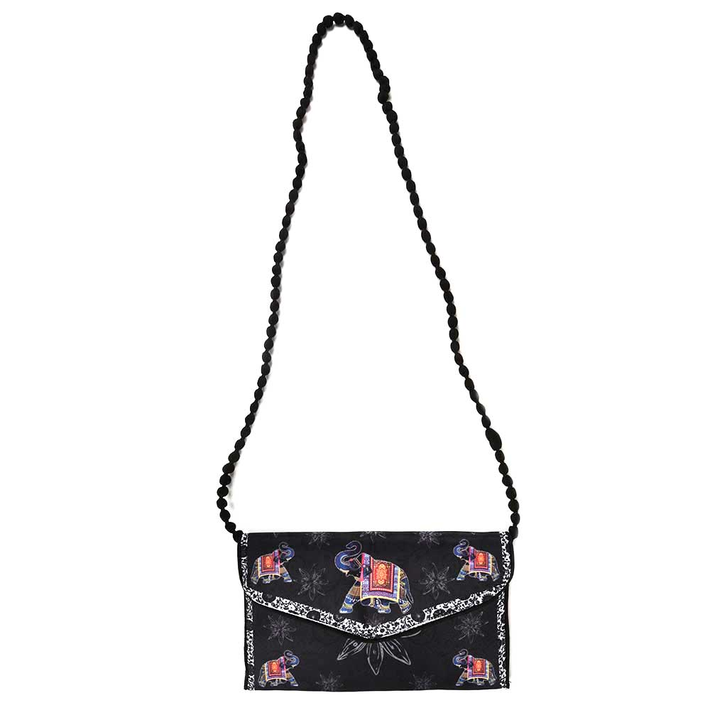 Black Handpainted Elephant Shoulder Bag