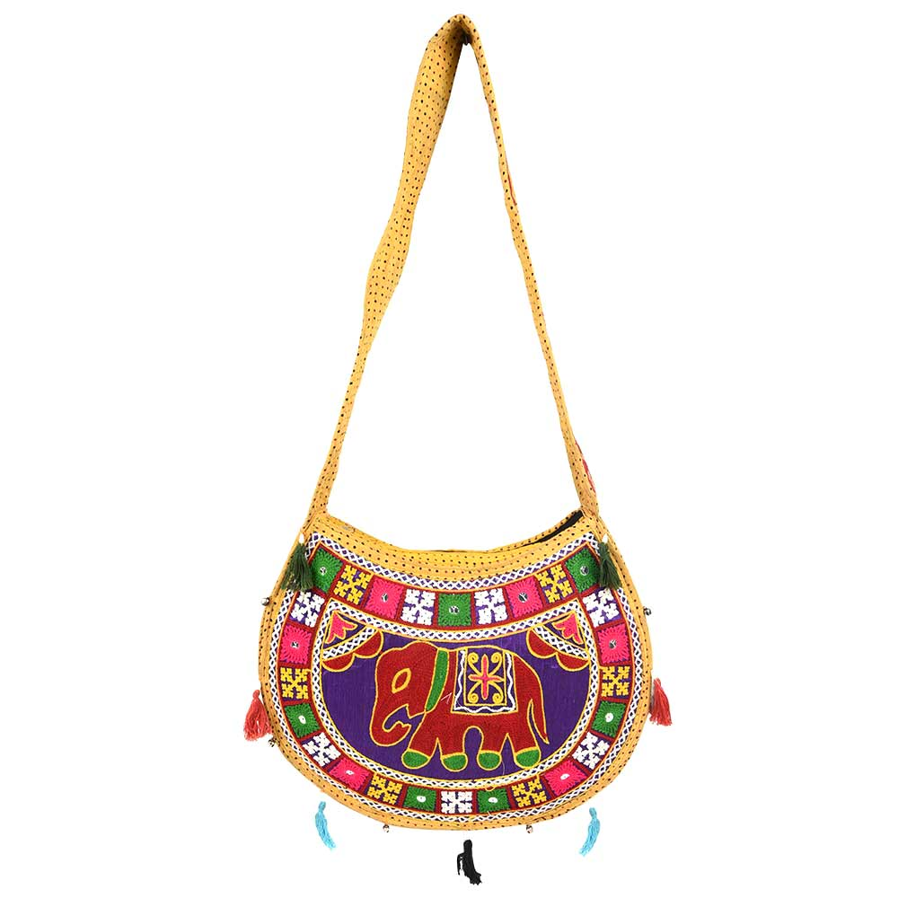 Round Elephant Hand Embroidered Sling Bag