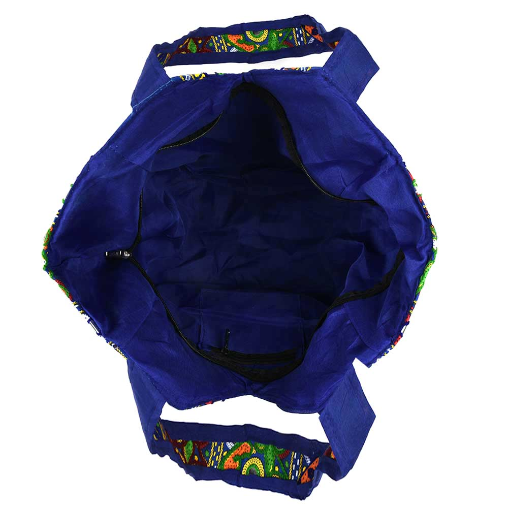 Navy Blue Tribal Banjara Boho Embroidered Bag