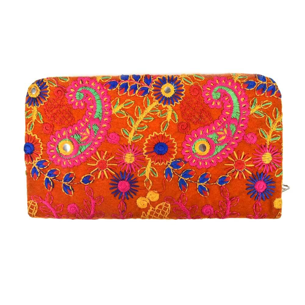 Orange Embroidered Clutch