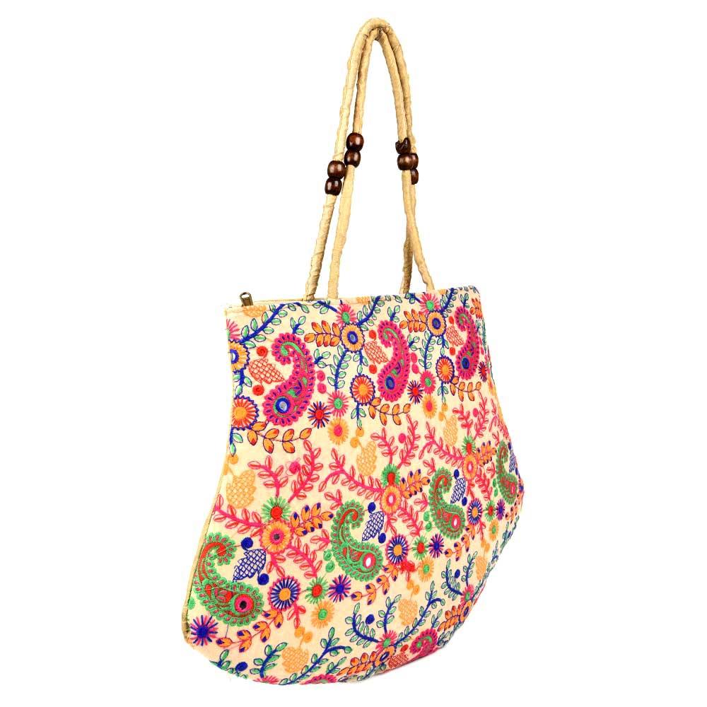 Off  White Colorful Embroidered Shoulder Bag