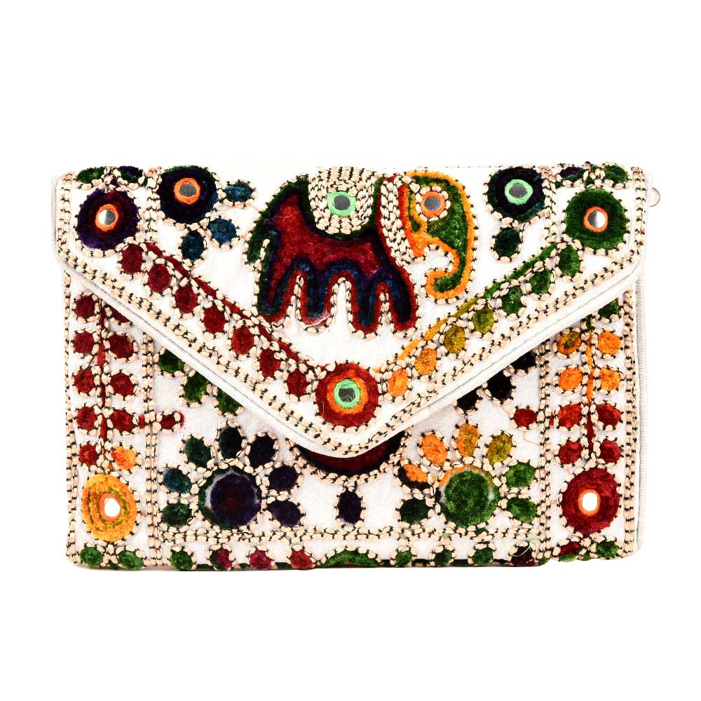 White Elephant Embroidery Banjara Clutch