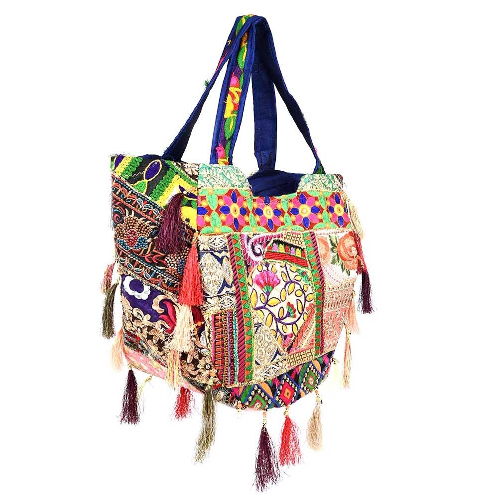 Navy Blue Sling Tribal Banjara Bag With Tassels