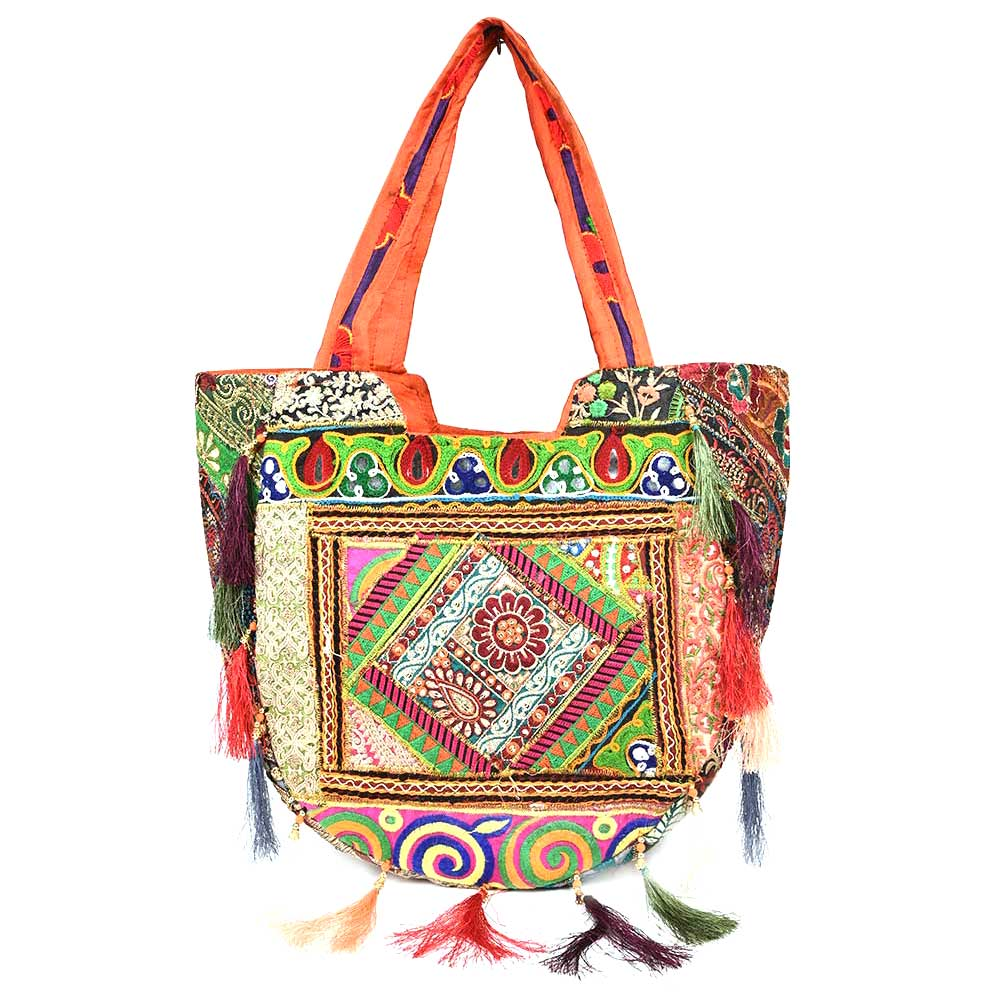 Orange Sling Tribal Banjara Bag With Tassels
