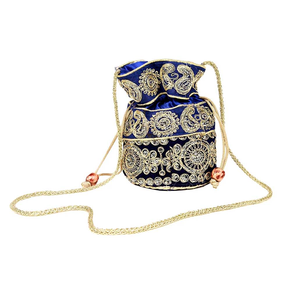 Navy Blue Designer Potli Bag