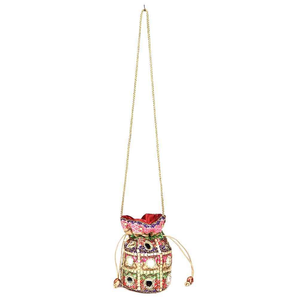 Muticolored Mirror Work Potli Bag