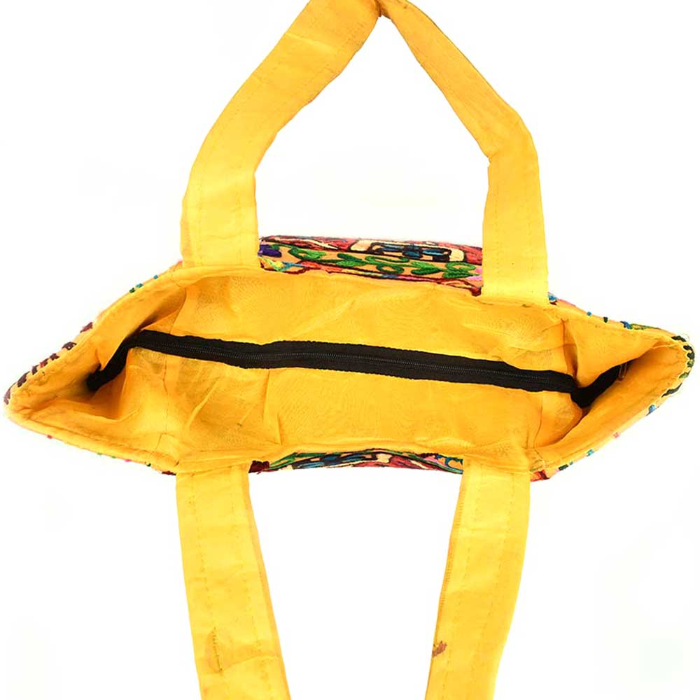Yellow Elephant Design Banjara Hobo Bag