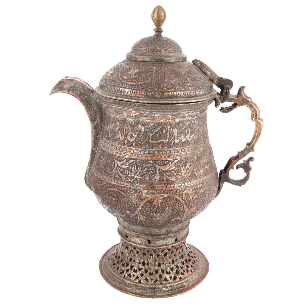 Engraved Copper Samovar with Flora and Leaf Design