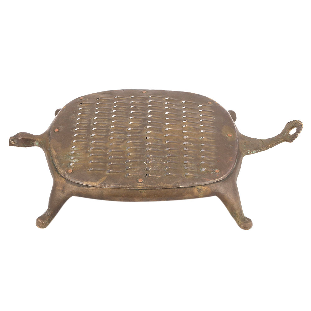 Vintage Brass Tortoise Shape Grater Coconut Scraper
