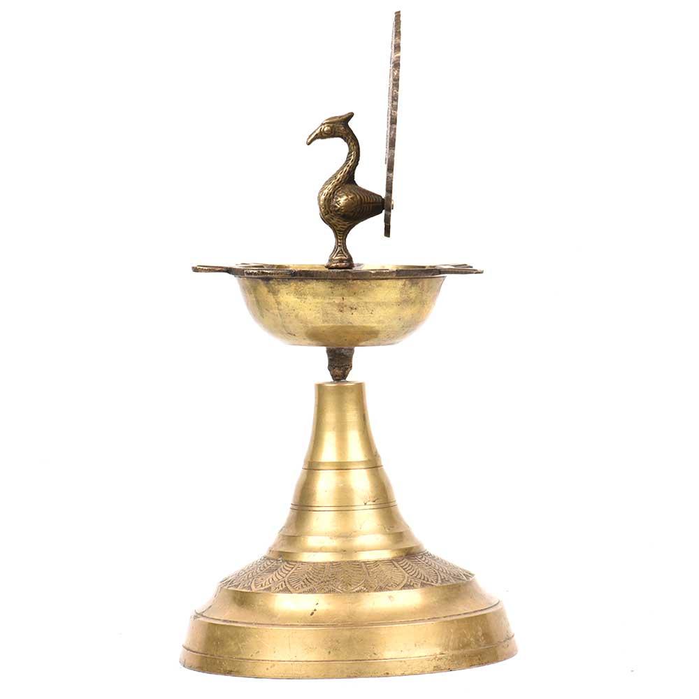 Brass Diya Wick Light Candle Lamp Peacock Design