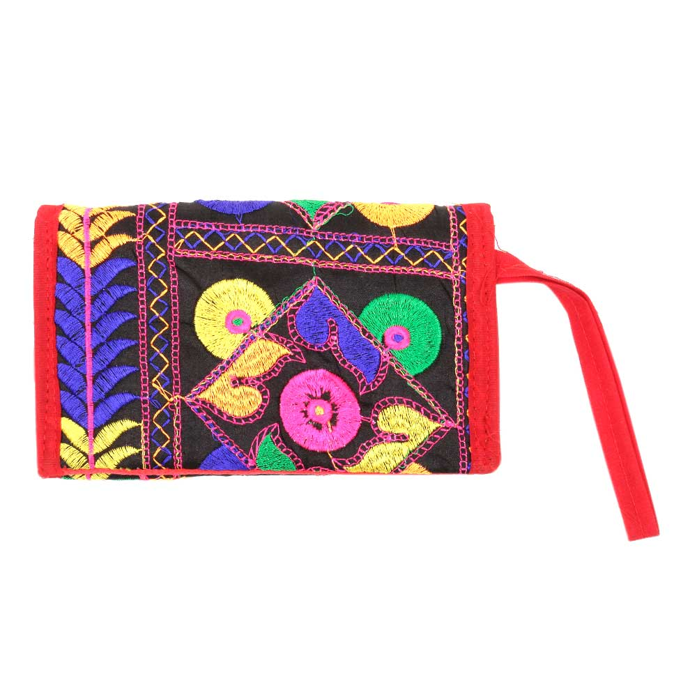 Red Cotton Purse Patch EmbroideredPurse
