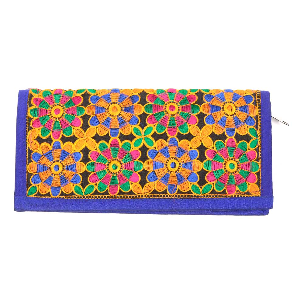 Blue Floral Hand embroidered Clutch Purse