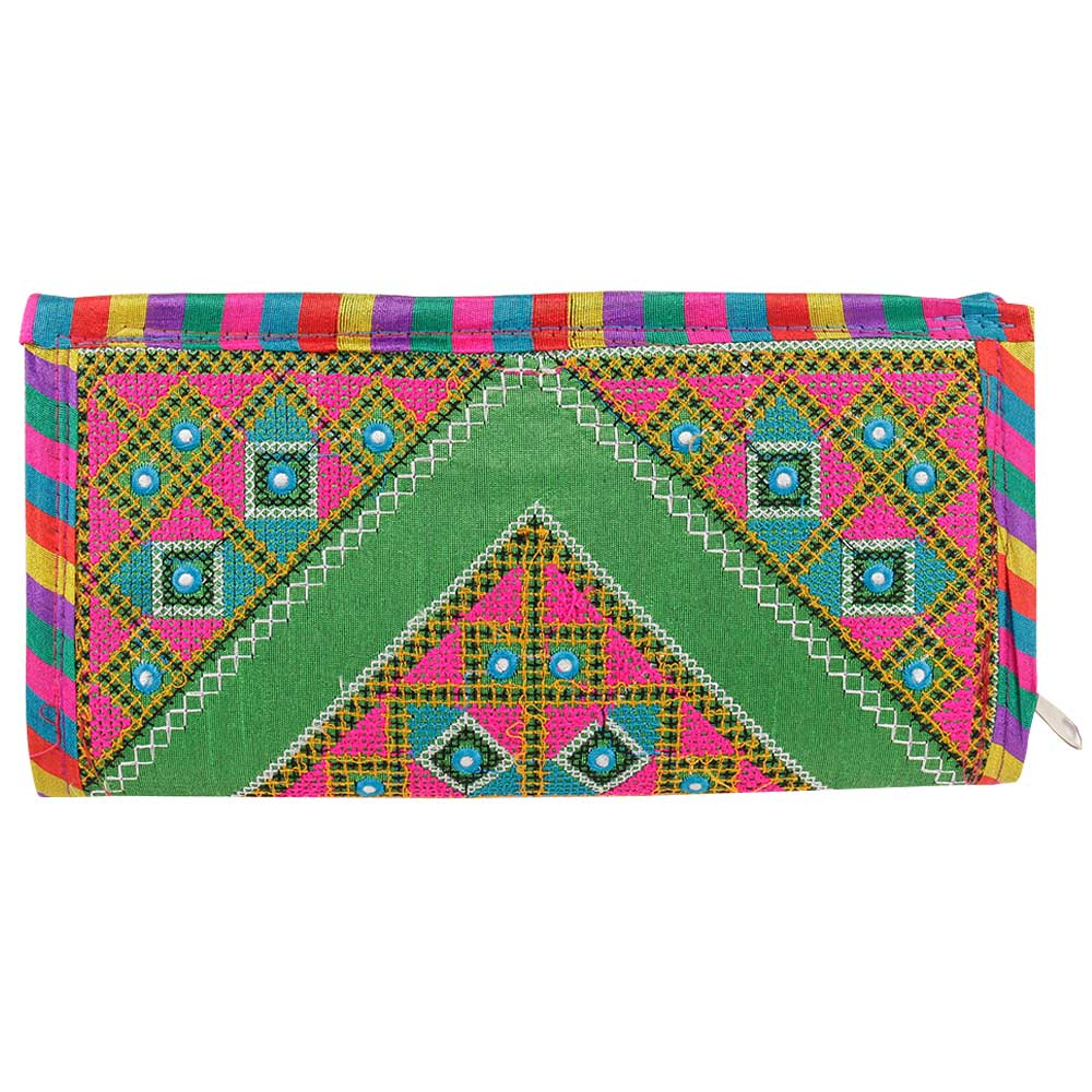 Green Handmade Multi Coloured Clutch Handbags