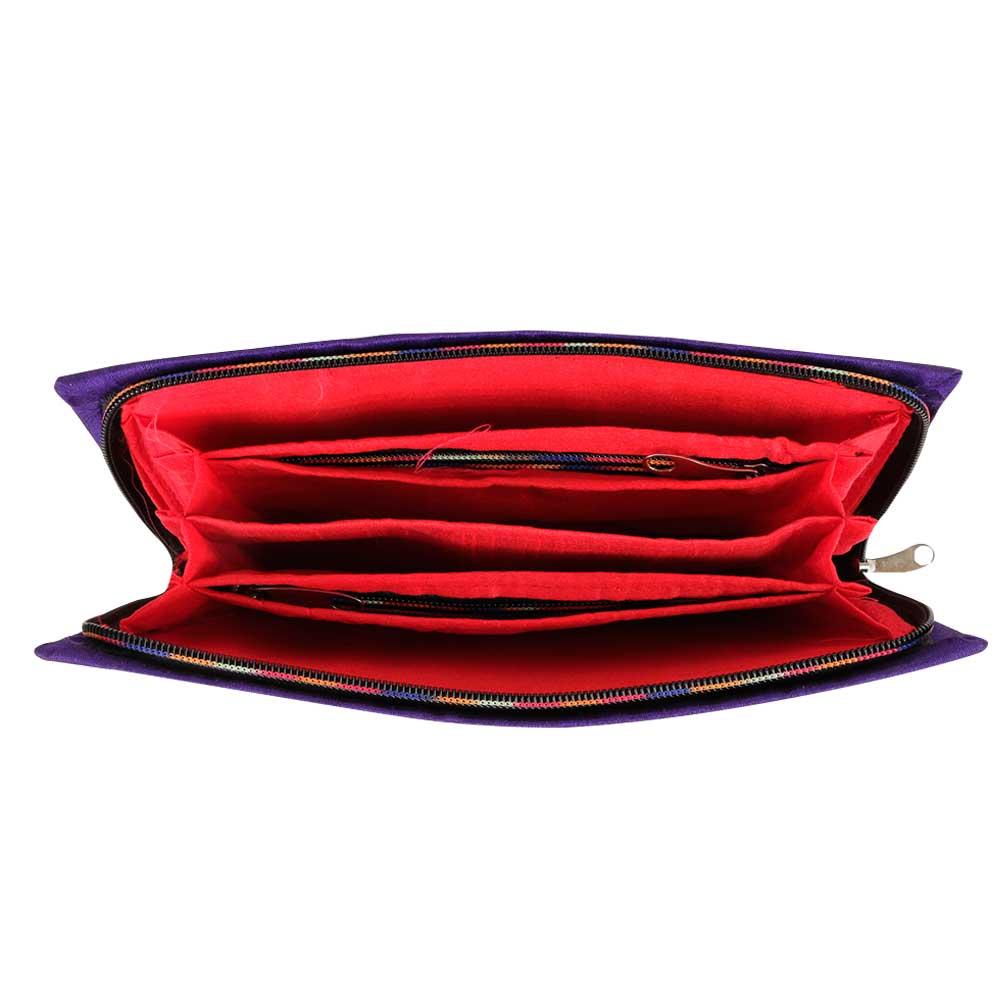 Blue Cross Stich Embroidered Clutch Handbags