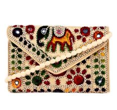 Beige Colorful Traditional Clutch