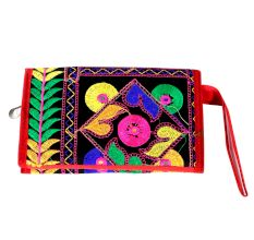 Black Red Border Clutch Embroidered Purse