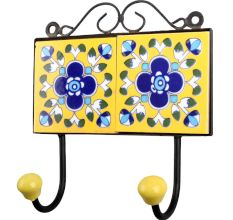 Yellow Navy Blue Floral Tiles Hooks