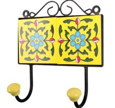 Yellow Turquoise Floral Tiles Hook