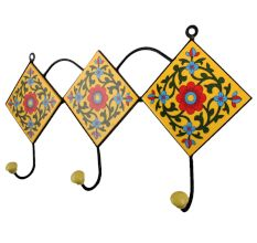 Yellow Forest Green Leaf Tiles Hook