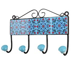 Turquoise Red Floral Tiles Hook