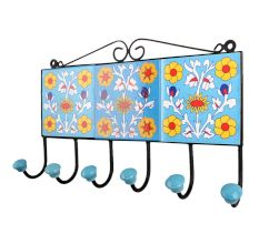 Turquoise Yellow Floral Tiles Hook