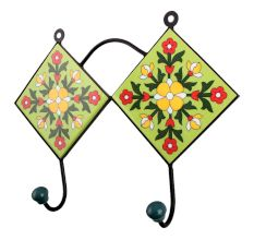 Lime Green Yellow Floral Tiles Hook