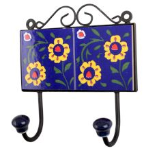 Navy Blue Yellow Floral Tiles Hook