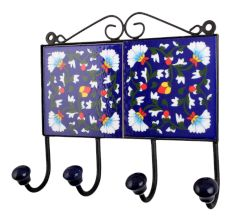 Navy Blue White Floral Tiles Hook