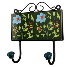 Forest Green Sky Blue Floral Tiles Hook