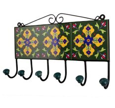 Forest Green Yellow Floral Tiles Hook