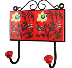 Red Yellow Floral Tiles Hooks