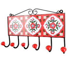Red White Floral Tiles Hooks