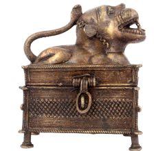 Tribal Lion Brass Jewellery Box