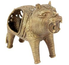 Hand Carved Brass Dhokra Lion Napkin Holder