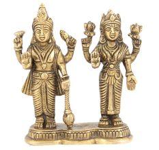 Lord Vishnu God Narayan Goddess Lakshmi Mahalaxmi Brass Metal Statue