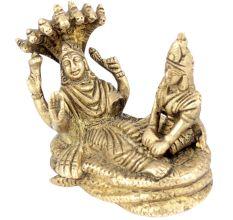 Brass Sculpture Of Lord Vishnu And Lakshmi Resting On Sheshnag
