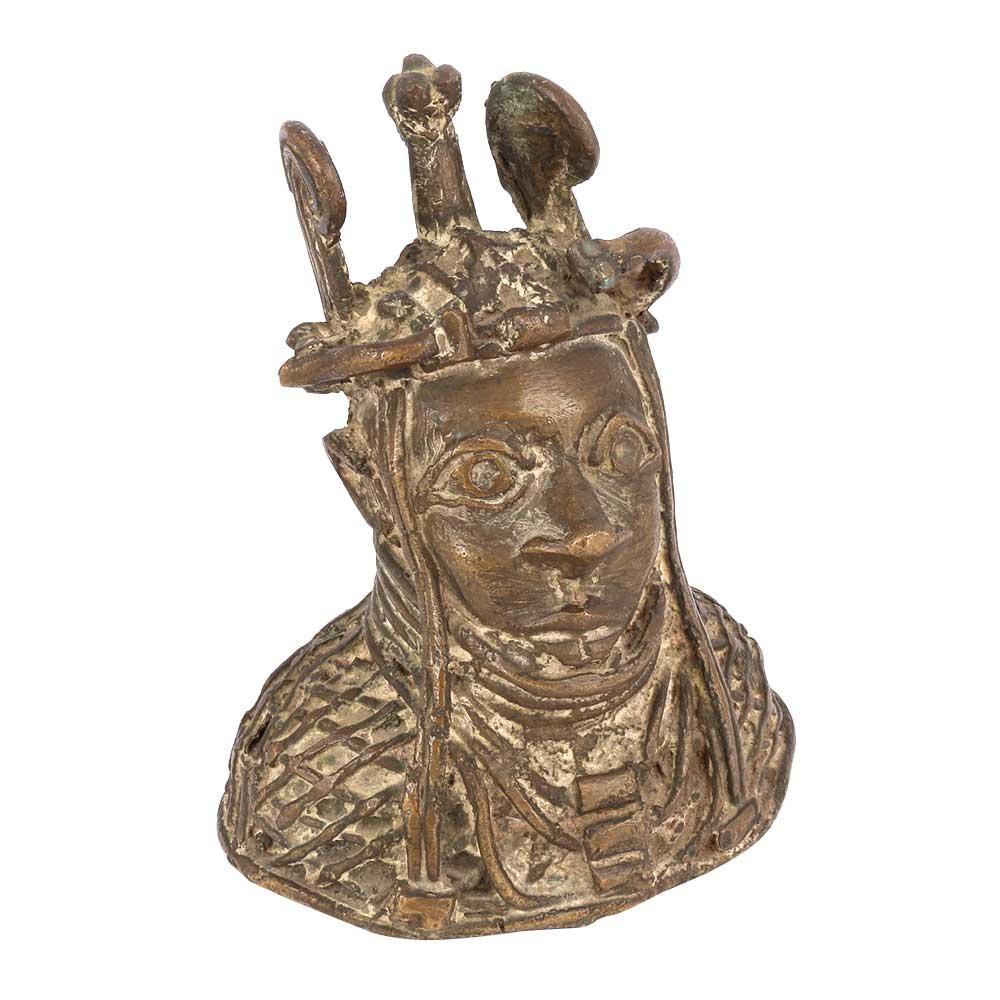 Tribal Art Benin Bronze Bust Oba of Benin