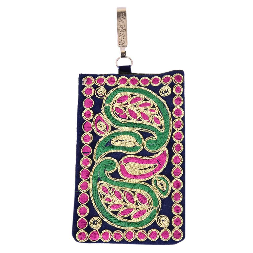 Marron Embroidered Mobile Money Purse Cover Pouch Purse Sling bag
