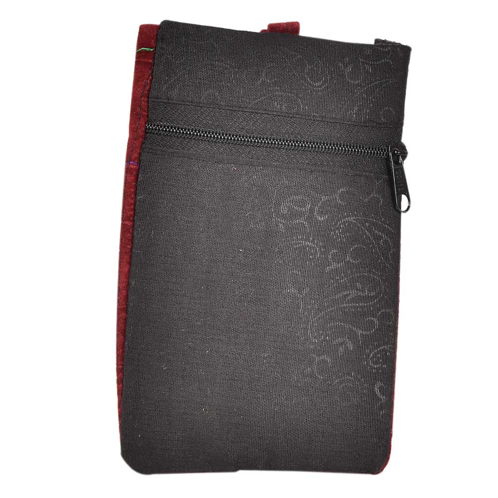 Black Red Embroidered Mobile Money Purse Cover Pouch Purse Sling bag
