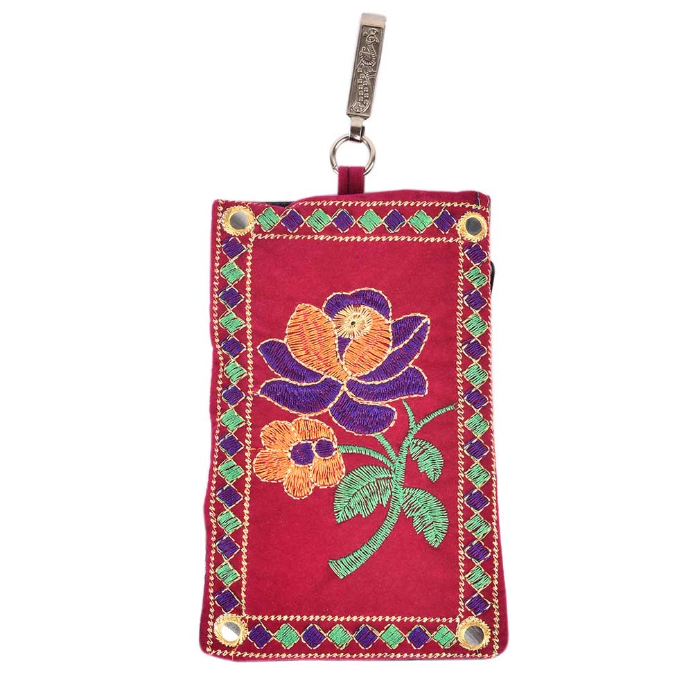 Red Rose Embroidered Mobile Money Purse Cover Pouch Purse Sling bag