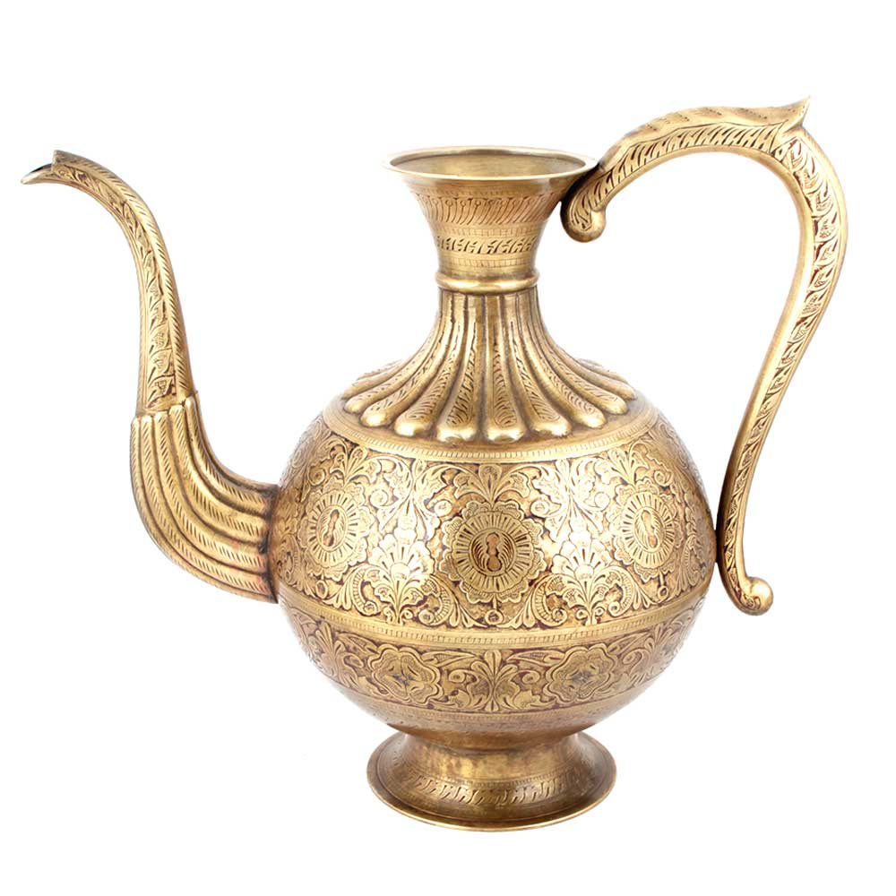 Engraved Copper Ewer Pitcher