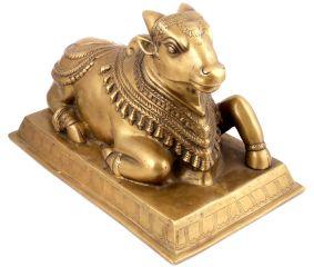 Brass Nandi Sitting Statue