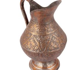 Vintage Repousse Copper Water Pitcher Jug