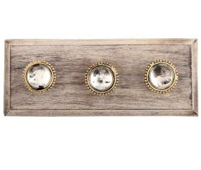 Clear Wheel Glass and Metal Wooden Hooks