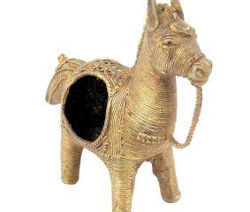 Handmade Dhokra Brass Horse Napkin Holder