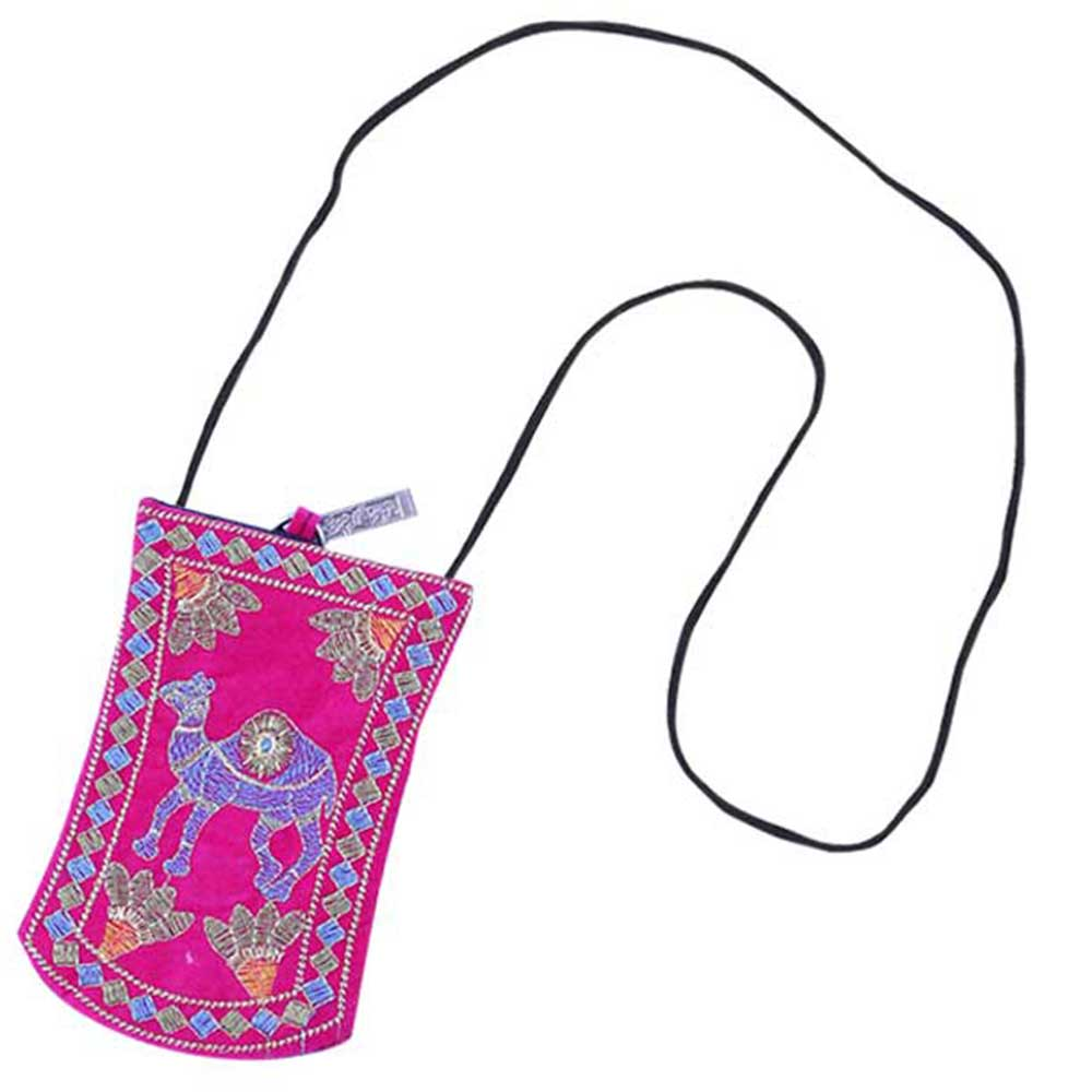 Pink Camel Mini Purse / Mobile Pouch For Womens Hook