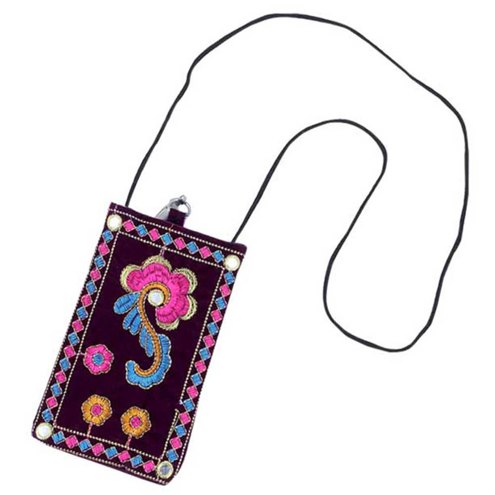 Black Floral Mini Purse / Mobile Pouch For Womens Hook