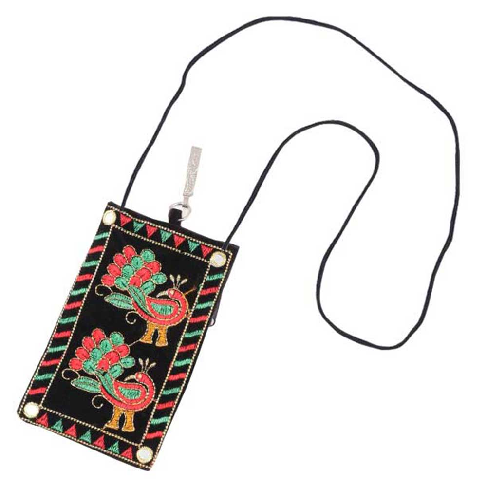 Black Peacocks Mini Purse / Mobile Pouch For Womens Hook