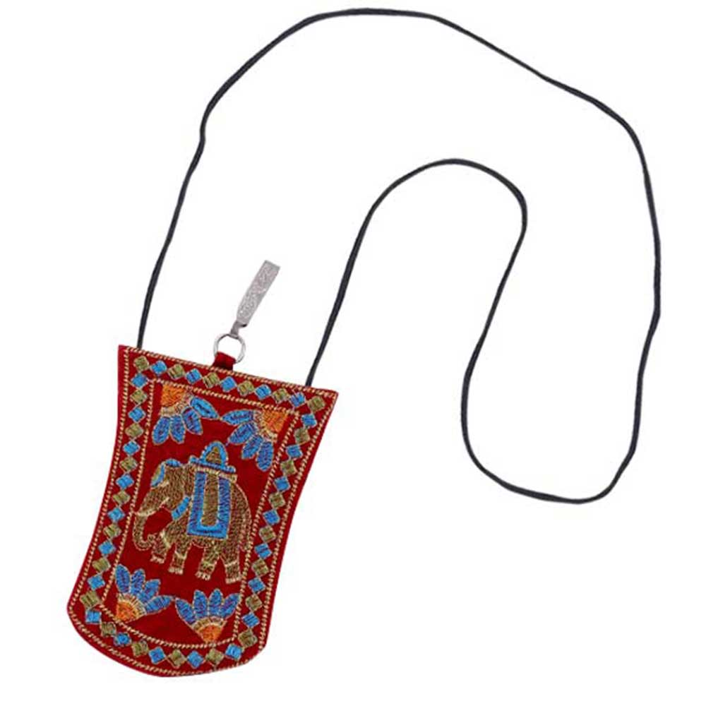 Red Elephant Floral  Mini Purse / Mobile Pouch For Womens Hook