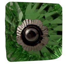 Green Glass Square Cut Cabinet Knob Online